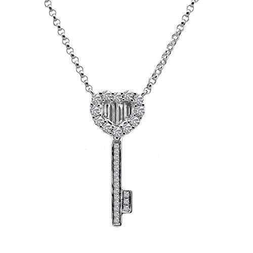 代引き手数料無料 ダイヤモンド Necklaces, ダイヤモンド ネックレス ホワイト ゴールド ダイヤモンド キー ペンダント with 17