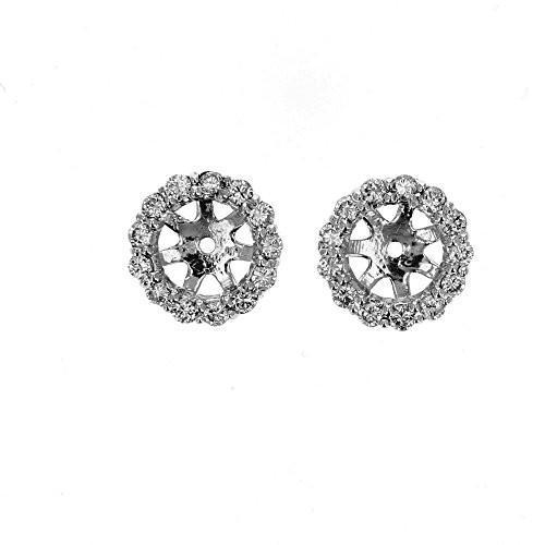 沸騰ブラドン Earring ジャケット, 14kt ホワイト ゴールド ダイヤモンド スタッド Earring ジャケット, 0.80TCW(海外取寄せ品), 駿東郡 e321edac