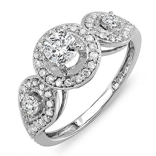 雑誌で紹介された 1.00 Carat Bridal (ctw) ホワイト 14K ホワイト ゴールド ラウンド ダイヤモンド 3 レディース 3 ストーン Bridal Eng(海外取寄せ品), ファーストドア:1a937778 --- airmodconsu.dominiotemporario.com