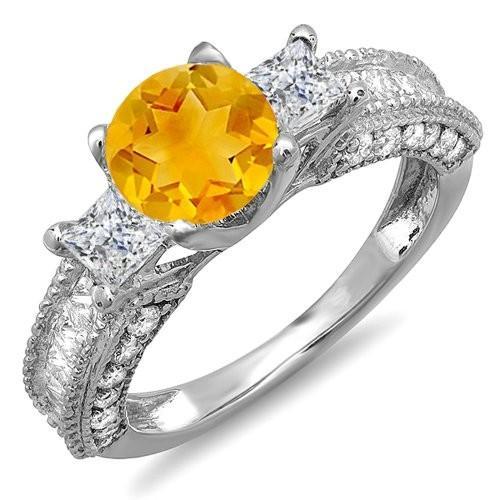 【同梱不可】 14k ホワイト ゴールド イエロー Citrine & ホワイト ダイヤモンド 3 ストーン Engagement Bridal (海外取寄せ品), e-m connection e1b5bca1