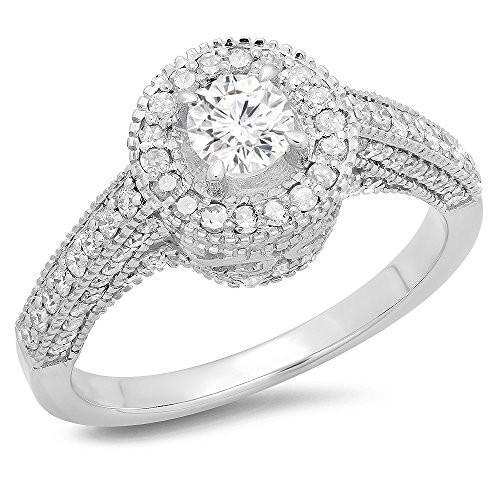 買い保障できる 1.00 ダイヤモンド Carat (ctw) 14K ホワイト ゴールド ホワイト ラウンド ダイヤモンド Bridal ヴィンテージ ヴィンテージ Halo スタイル(海外取寄せ品), Clear(クリア):a382aa19 --- airmodconsu.dominiotemporario.com