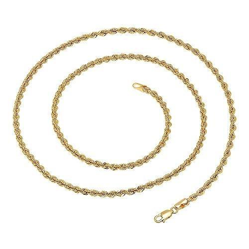 ブランド品専門の 14K イエロー ゴールド ホロー Rope ダイヤモンド カット チェーン 5.5 mm (28 inch)(海外取寄せ品), 河野村 dd84bb59