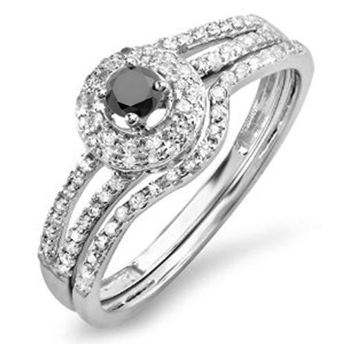 お気に入りの 0.50 Carat (ctw) 14K ホワイト ゴールド 14K ホワイト (ctw) Engagement & ブラック ダイヤモンド Halo Engagement (海外取寄せ品), micce:70bb42b6 --- airmodconsu.dominiotemporario.com