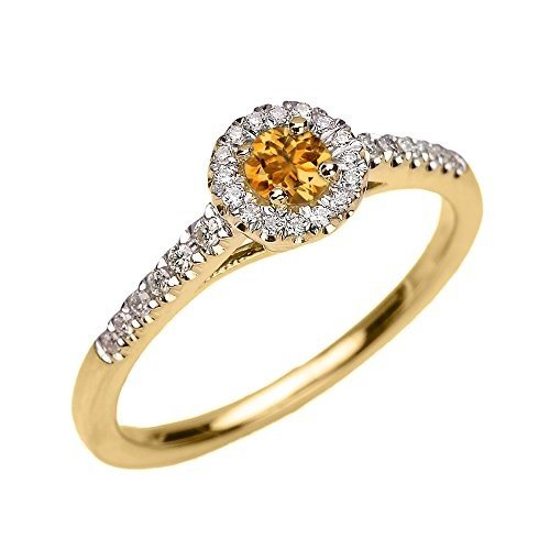 値段が激安 14k イエロー ゴールド Dainty Citrine and ダイヤモンド ダイヤモンド Engagement Proposal Dainty and リング (S(海外取寄せ品), Wondershare:4d438ecb --- airmodconsu.dominiotemporario.com