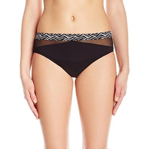 プロフィール by Gottex レディース マーブル ベルト Bikini Bottom, ブラック/白い, 16(海外取寄せ品)