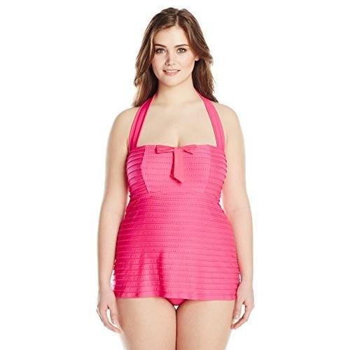 Jessica Simpson レディース Plus-サイズ Seashells Bandeau Swim ドレス(海外取寄せ品)