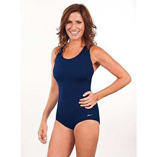 Dolfin Swimwear Conservative ラップ スーツ ソリッド - ネイビー 490, 16(海外取寄せ品)