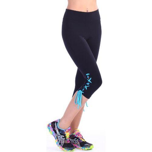 魅力の マルガリータ - デザイナー Activewear - ブラック Capri with ブルー レース - Medium(海外取寄せ品), SORA 30adedaf