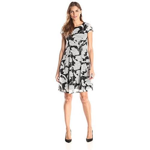 Jessica Howard レディース キャップ スリーブ フィット and Flare ドレス, ブラック/Ivory, 10(海外取寄せ品)
