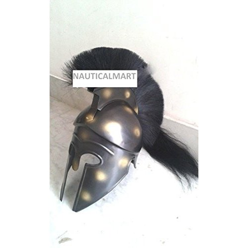 NauticalMart Medieval Greek Corinthian ハロウィン スパルタ ヘルメット ブラック Plume海外取寄せ品