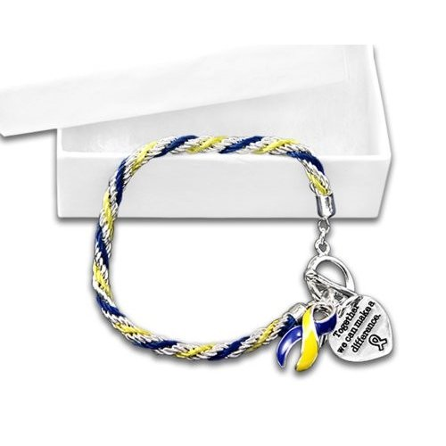 Rope ブルー & イエロー リボン ブレスレット In ギフト Boxes (Wholesale パック 12 Bracelets)海外取寄せ品