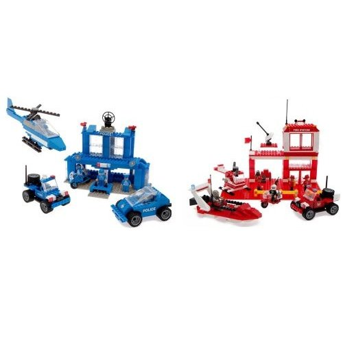 Best ロック Construction Toys 450 ピース セット: ファイア & ポリス Police Station海外取寄せ品
