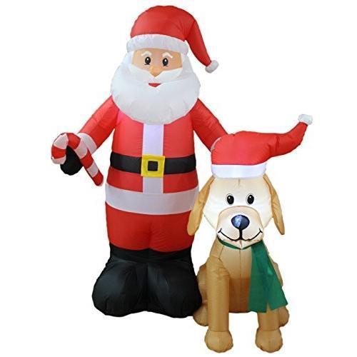 宅配便配送 5 Foot トール Lighted クリスマス Lighted Foot インフレータブル with サンタ Claus with キュート Dog Yard デコレーシ海外取寄せ品, ミズノ公式通販:c87e8e88 --- grafis.com.tr