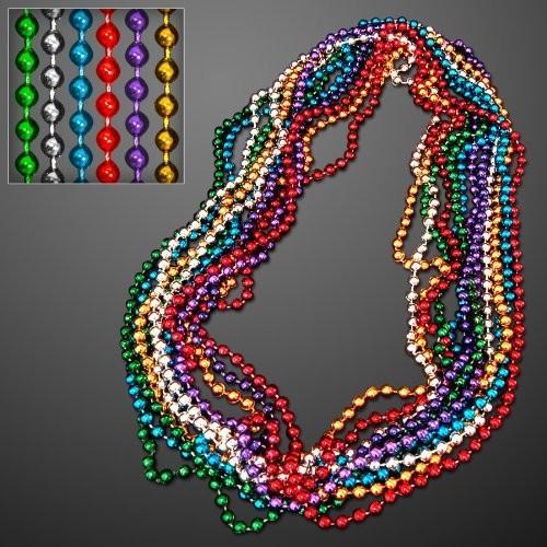 アソーテッド カラー 7mm ラウンド Mardi Gras ビーズ (Set of 144)海外取寄せ品