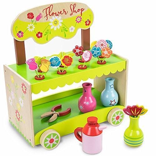 ウッデン ワンダー Flourishing フラワー Shop プレイセット with Vases, Shears, and 14 ユニ海外取寄せ品