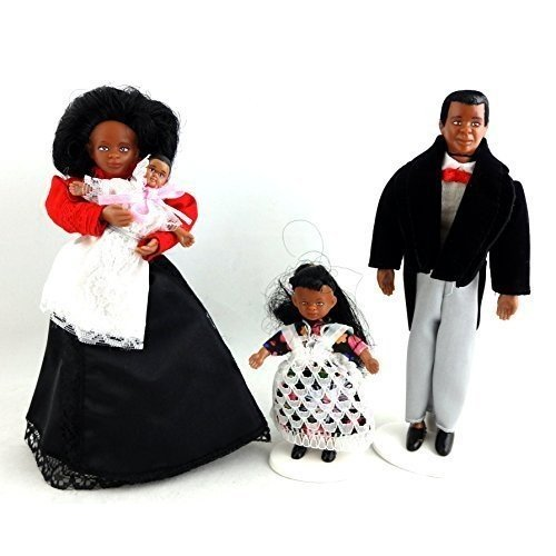 Dollhouse ミニチュア Victorian ブラック ファミリー of 4 People Bendable Poseable 1海外取寄せ品