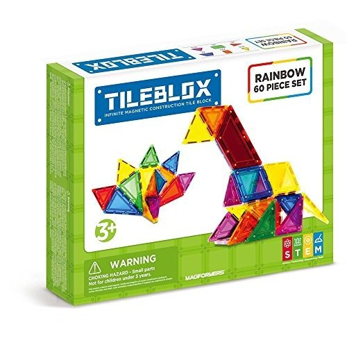 MAGFORMERS Tileblox レインボウ 60pc Building-and-Stacking-Toys (60 Piece)海外取寄せ品