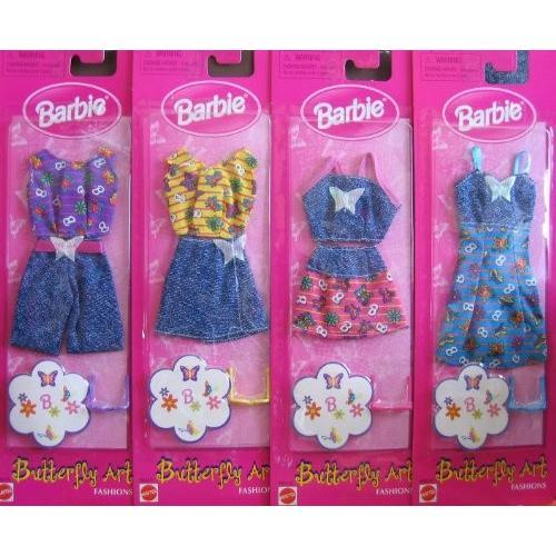 バービー Barbie バタフライ Art ファッション セット of 4 ファッション Outfits (1998 Arcotoys,海外取寄せ品
