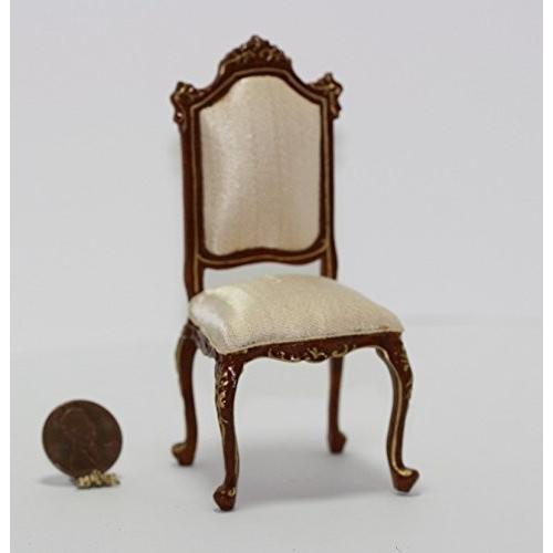 Dollhouse ミニチュア ゴールド エンボス ウォールナット Chair in Pale ピーチ シルク海外取寄せ品
