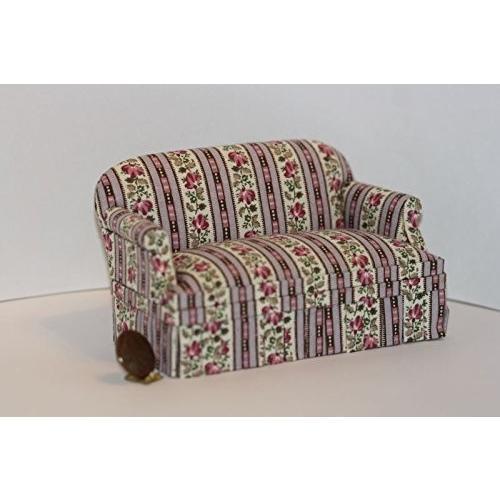 Dollhouse ミニチュア Comfy Upholste赤 Sofa in ラベンダー Trellis ストライプ海外取寄せ品