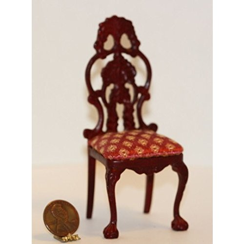 Dollhouse ミニチュア Ornate ハンド Carved Victorian Dining Room Chair in Mah海外取寄せ品