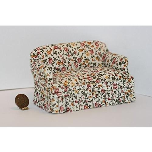 Dollhouse ミニチュア Comfy Upholste赤 Sofa in オレンジ & イエロー フローラル デザイン w/ 海外取寄せ品