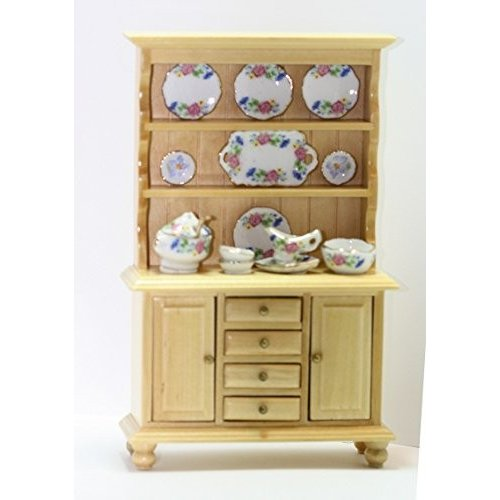 Dollhouse ミニチュア オーク ウッド Buffet Filled with Springtime China海外取寄せ品