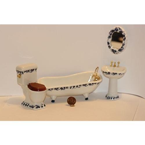 Dollhouse ミニチュア ファンシー ネイビー フローラル Bathroom セット海外取寄せ品