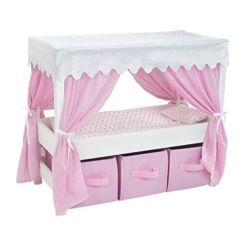 18 インチ ドール Furniture | Lovely ピンク and ホワイト Canopy Bed with 3 ストレージ B海外取寄せ品