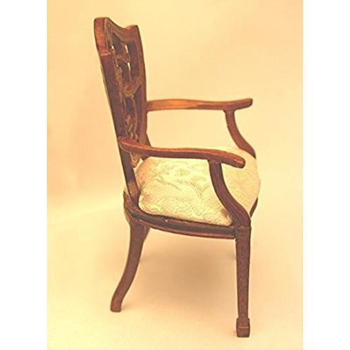 Dollhouse ミニチュア ラウンド バック ハンド Carved ウォールナット アーム Chair海外取寄せ品