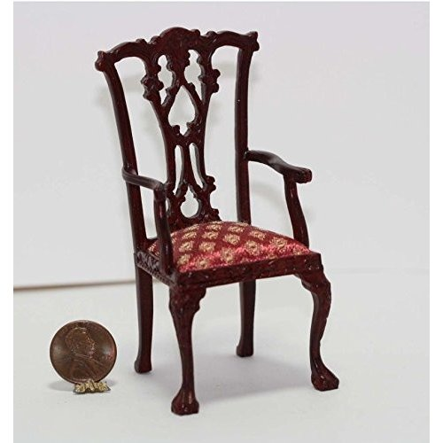 Dollhouse ミニチュア Mahogany Chippendale アーム Chair with チェリー Damask Upho海外取寄せ品