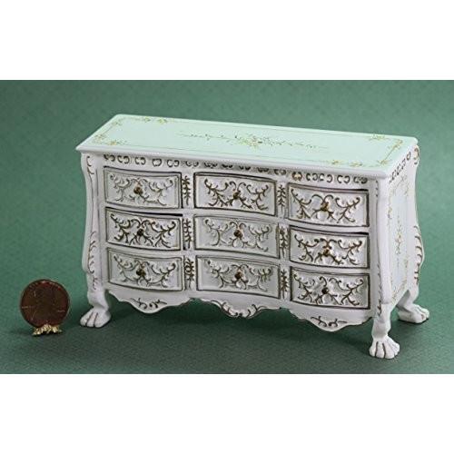 Dollhouse ミニチュア Ornate Dresser in ホワイト, ハンド ペイント and ゴールド Embellishm海外取寄せ品