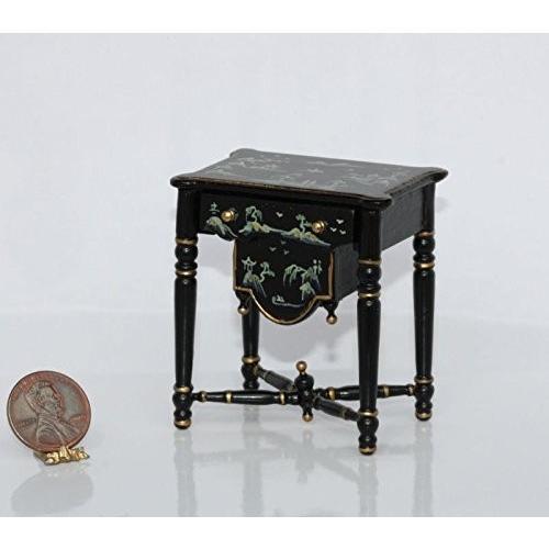 Dollhouse ミニチュア ブラック Oriental Chinnoisiere Sewing テーブル w/ Working Dr海外取寄せ品