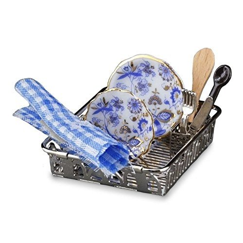 Dollhouse ミニチュア ブルー Onion Drying Rack セット by Reutter Porcelain海外取寄せ品