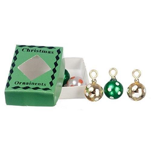 Dollhouse ミニチュア ボックス of クリスマス Ornaments in グリーン by International ミニチ海外取寄せ品