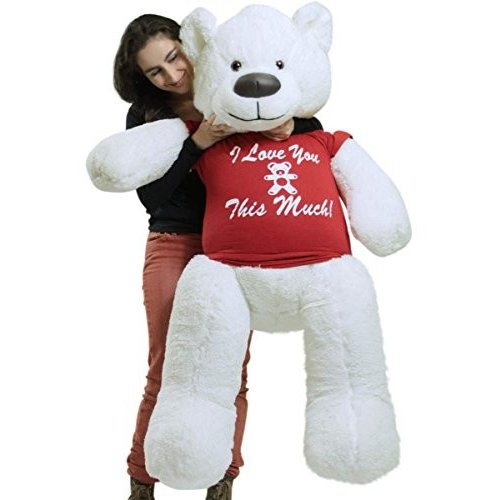 Giant ホワイト Teddy クマ ソフト 55 インチ, Wears リムーバブル Tシャツ I ラブ YOU THIS MUCH海外取寄せ品