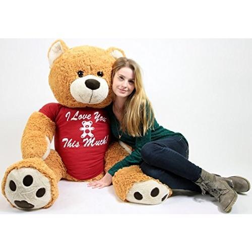 ビッグ Plush Giant Romantic Teddy クマ Five フィート トール ハニー ブラウン カラー Wears T海外取寄せ品