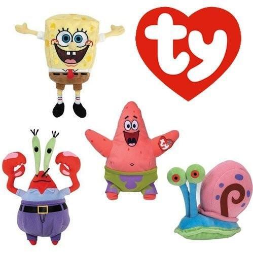 TY Beanie ベビー セット of 4- Sponge Bob スクエア パント and Patrick スター, Mr. Kra海外取寄せ品