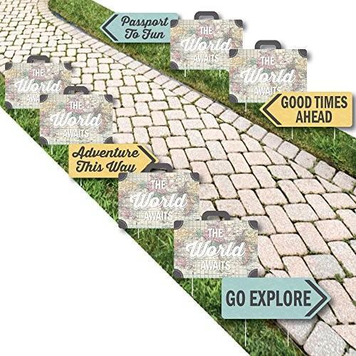 World Awaits - マップ パーティー Lawn デコレーション - アウトドア トラベル テーマ パーティー Yard デコ海外取寄せ品