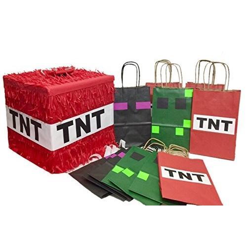 レッド TNT ピニャータ & 12 PK グリーン ブラック and レッド パーティー フェイバー Bags海外取寄せ品