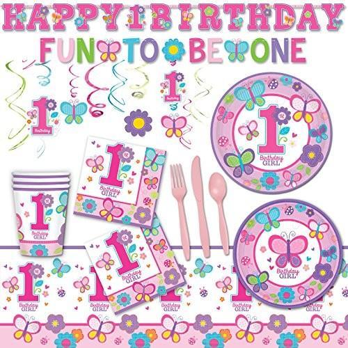 Deluxe スウィート ガール 1st Birthday ピンク バタフライ パーティー パック デコレーション For 18海外取寄せ品