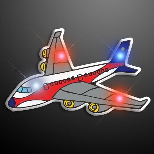 Light Up Airplane Flashing Blinking LED Body Light Lapel ピン (25-Pack海外取寄せ品