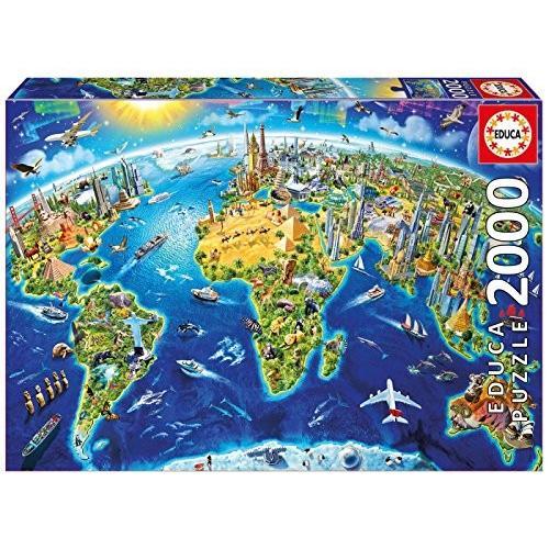 Educa Children's 2000 World Landmarks グローブ パズル海外取寄せ品