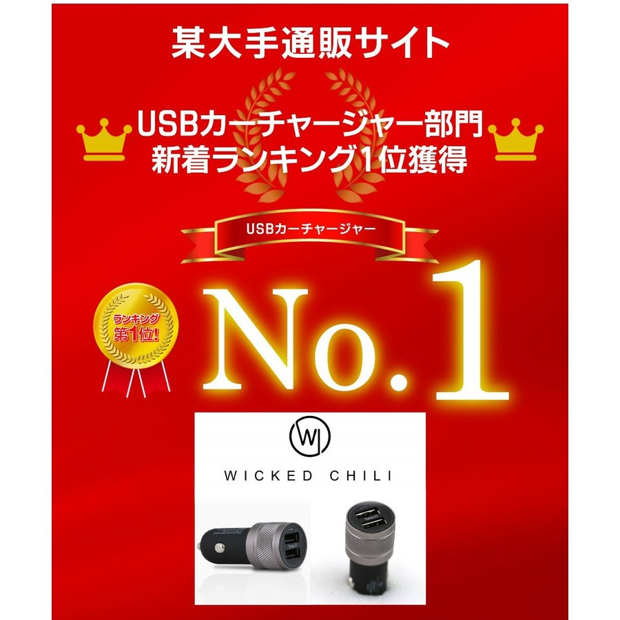 シガーソケット USB 2ポート 車載用 充電器 車 急速 iPhone Android スマホ 12V 24V カーチャージャー 4.8A タブレット Wicked Chili ta-creative 02