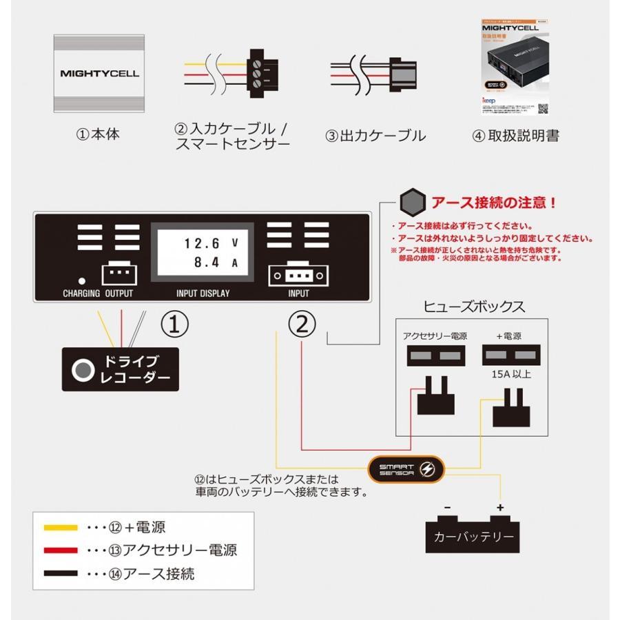 ドライブレコーダー 駐車監視 補助 バッテリー MIGHTYCELL EN12000 iKeep 2個セット ta-creative 12