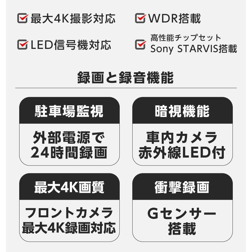 ドライブレコーダー 3カメラ搭載 4K 800万画素 前後/車内同時録画 GPS SONY製センサー 夜間撮影に強い 駐車監視 赤外線暗視機能 18ヶ月保証 YAZACO P3 Pro|ta-creative|03