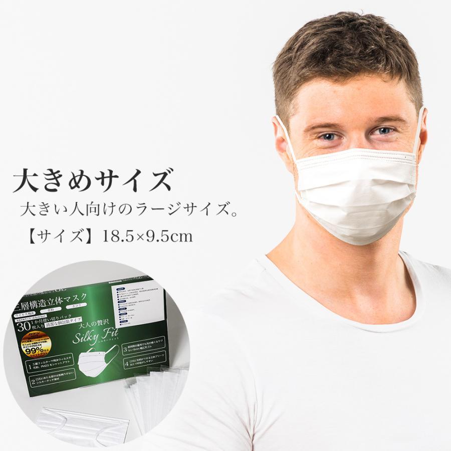マスク 不織布 個包装 個別包装 30枚 耳が痛くない 小さめ 大きめ 普通サイズ カラー 白 平ゴム やわらか 使い捨て 3層構造 おすすめ シルキーフィット tabi 02