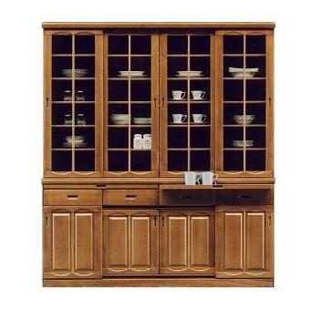 食器棚 幅180cm 高さ200cm 引き戸 完成品 ナチュラル色 hid-239 スライド扉 ダイニングボード キッチン 収納 sh8