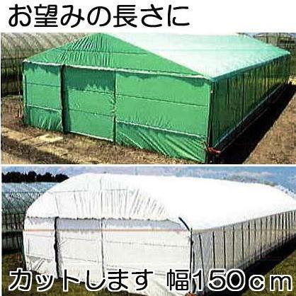 農PO ハクリョク 0.15mm×150cm×30m(長さ指定OK) 両面仕様(白・緑) 農業用格納庫 2枚組
