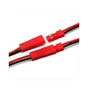 JSTコネクタケーブル ワイヤリード2ピン 24AWG 10cm オスメス1セット 赤 2本電線のコネクタ化|tafuon